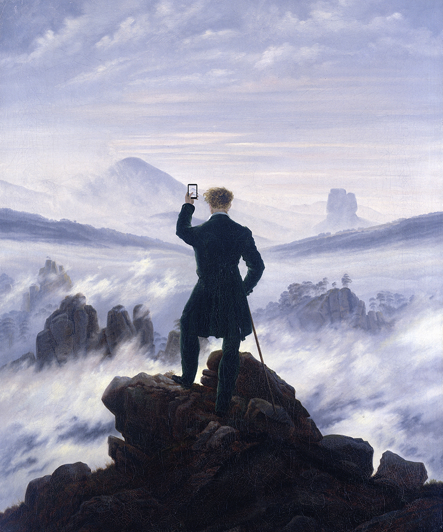"Kim Dong-Kyu, ""When You See the Amazing Sight,"" after ""Wanderer Above                         the Sea of Fog"" by Caspar David Friedrich, 1818 (Nov. 5, 2013) Link"
