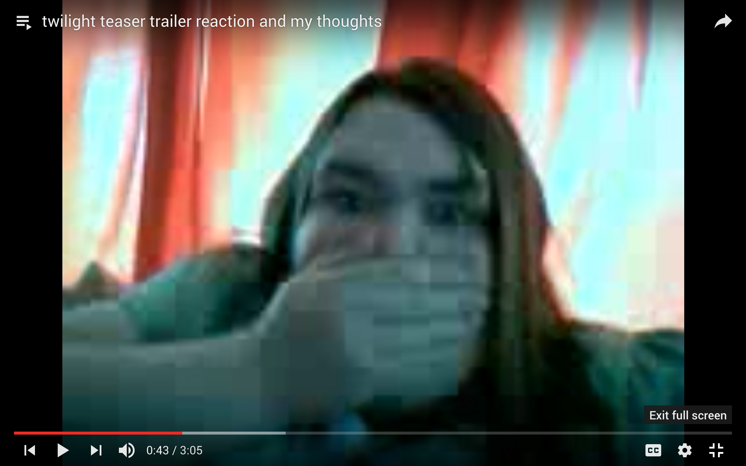 "Screen capture of video by Nutty Madam, ""twilight teaser trailer                         reaction and my thoughts"" (May 6, 2008) Link"