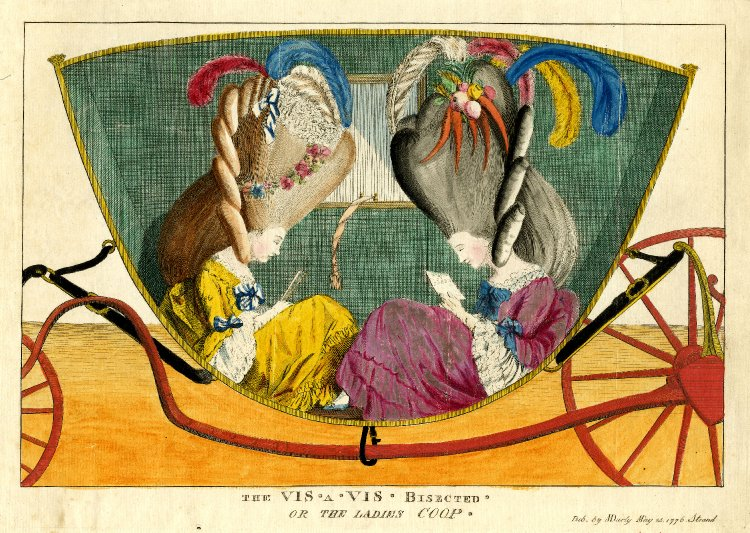 "Matthew Darly, ""The Vis-à-vis Bisected, or, The Ladies Coop"" (1776)                             Link"