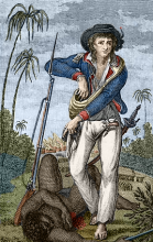 John Gabriel Stedman stands over a slave after the capture of Gado Saby, from the frontispiece of his Narrative.
