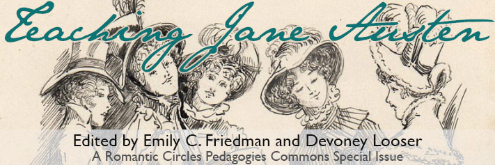 """The title, """"Teaching Jane Austen,"""" is superimposed over a sketch of five early 19th century women wearing hats and dresses with high collars."""