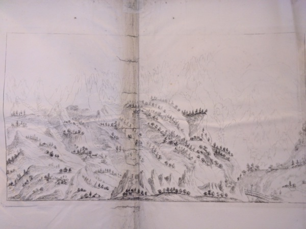 Fold-out pencil sketch of the view towards Mont Blanc from the northeast side of the Chamouni valley. Reproduced by kind permission of the British Library.