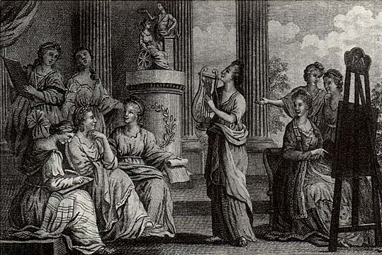 Engraving of the Muses of England by Walker