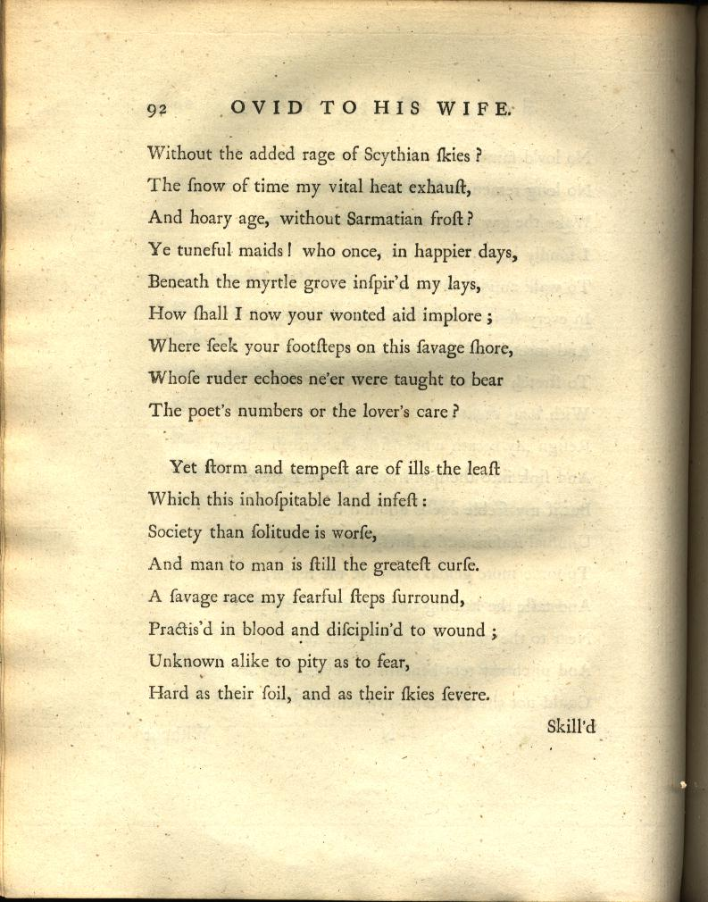 Ovid to his Wife
