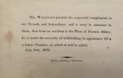 Figure 4: Wilkinson's apology slip explaining to subscribers the omission of a               fourth print from the August 1810 installment. (Courtesy: Wordsworth Trust)