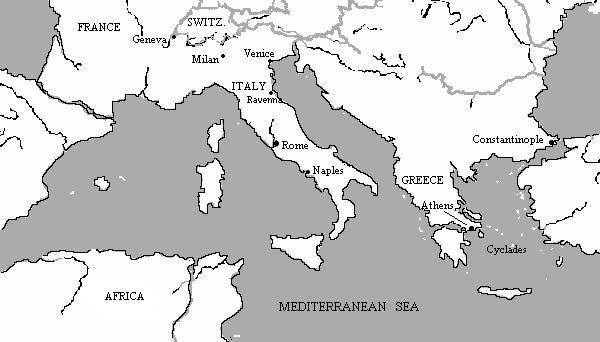 Map of Mediterranean Basin   Romantic Circles