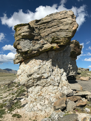 Figure 1: A mushroom rock located in Rocky Mountain National                     Park. The rocks, among the oldest in the park, date back approximately 1.7                     billion years. Photograph courtesy of the author.
