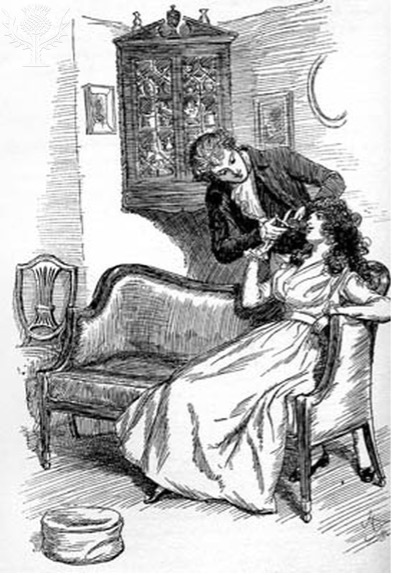 Willoughby cuts off a lock of Marianne's                                 hair. Illustration by Hugh Thomson (1860–1920), 1896.                             Britannica ImageQuest, Encyclopædia                             Britannica.