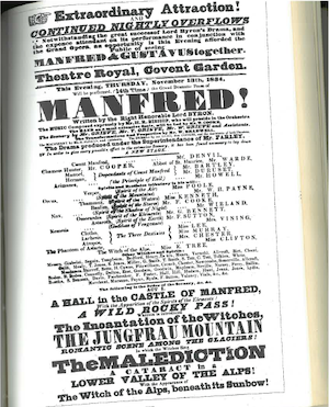 Figure 5: 1834 Manfred Playbill, from the Crawford Theater Collection            Yale University Library MS 1387