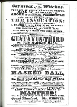 Figure 6: 1834 Manfred Playbill, from the Crawford Theater Collection              Yale University Library MS 1387