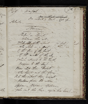 Fair copy of Manfred MS. 43335 f. 28v.  Reproduced by permission                      of the National Library of Scotland; Lord Byron, Manfred (1817) 48