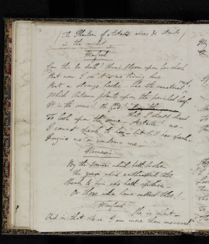Fair copy of Manfred MS. 43335 f. 28v.  Reproduced by permission                      of the National Library of Scotland; Lord Byron, Manfred (1817) 50
