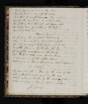 Fair copy of Manfred MS. 43335 f. 1v. Reproduced                      by permission of the National Library of Scotland; Lord Byron,                      Manfred (1817) 8
