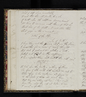 Fair copy of Manfred MS. 43335 f. 16v.  Reproduced by                      permission of the National Library of Scotland; Lord Byron, Manfred                     (1817) 32
