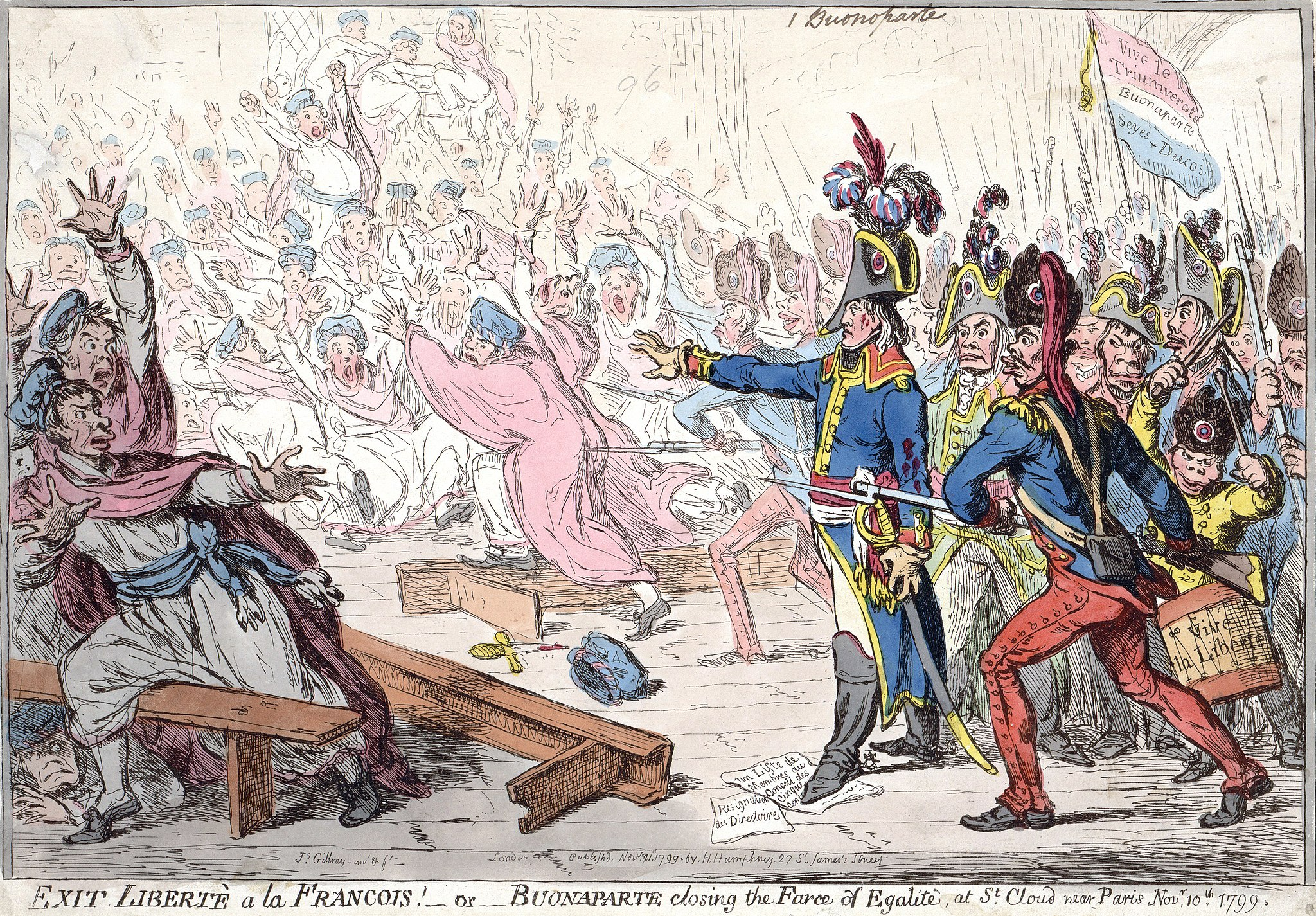 James Gillray's 1799 caricature of Napoleon and army, in military garb, pointing their weapons as they advance on fleeing civilians.