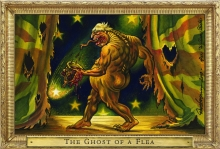 A color illustration of the Ghost of a Flea with Boris Johnson's face