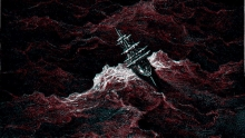 Color image of a boat on choppy seas